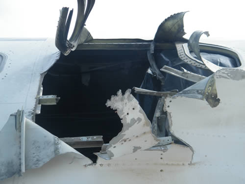 Close-up of the damaged plane
