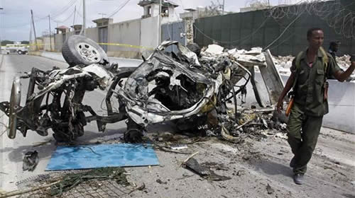 Remains of car used in airport bombing
